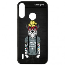 Capa para Motorola Moto P40 Play Case2you - Escovada Preta Dog Tatoo