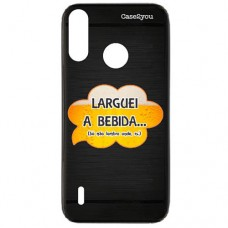 Capa para Motorola Moto P40 Play Case2you - Escovada Preta Larguei a Bebida