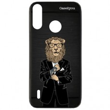 Capa para Motorola Moto P40 Play Case2you - Escovada Preta Lion Of Suite