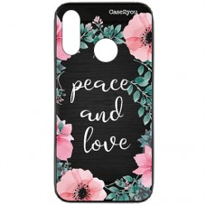 Capa para Motorola Moto P40 Play Case2you - Escovada Preta Peace and Love