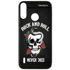 Capa para Motorola Moto P40 Play Case2you - Escovada Preta Rock and Roll
