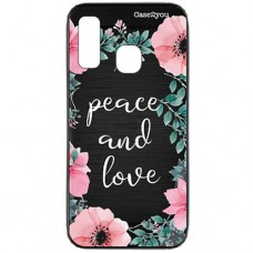 Capa para Samsung Galaxy A20 e A30 Case2you - Escovada Preta Peace and Love