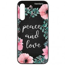 Capa para Samsung Galaxy A70s Case2you - Escovada Preta Peace and Love