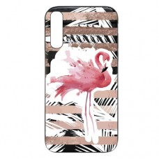 Capa para Samsung Galaxy A7 2018 Case2you - Escovada Preta Flamingo Listras Rosa