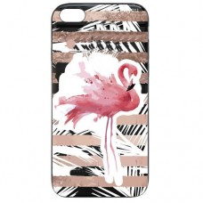 Capa para iPhone 5 e SE Case2you - Escovada Preta Flamingo Listras Rosa