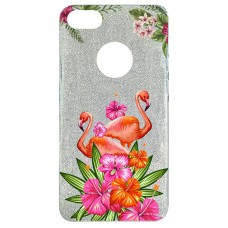 Capa para iPhone 6 Case2you - Flamingo Flowers Gliter Prata