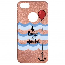Capa para iPhone 6 Case2you - Me Recuso a Afundar Gliter Goiaba