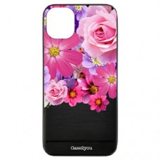Capa para iPhone 11 Pro Max Case2you - Escovada Preta Floral
