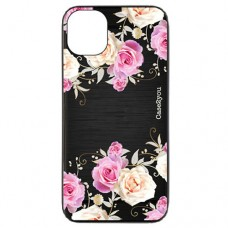 Capa para iPhone 11 Pro Max Case2you - Escovada Preta Rosas