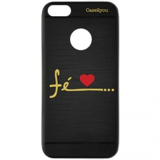 Capa para iPhone 6 Case2you - Escovada Preta Fé Love
