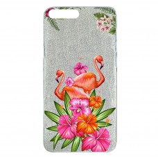 Capa para iPhone 7 e 8 Plus Case2you - Flamingo Flowers Gliter Prata