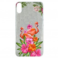 Capa para iPhone X e XS Case2you - Flamingo Flowers Gliter Prata
