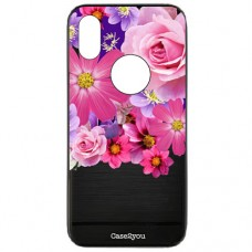 Capa para iPhone XR Case2you - Escovada Preta Floral