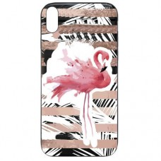 Capa para iPhone XS Max Case2you - Escovada Preta Flamingo Listras Rosa