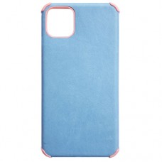 Capa para iPhone 11 - Antishock Leather Rosa Azul Clara