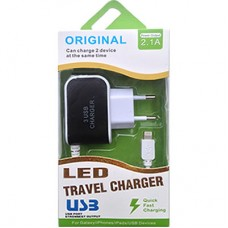 Carregador Parede iPhone 5/6/7 2.1A 3 USB com LED