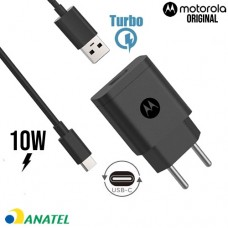 Carregador de Parede Motorola Original Turbo Power 10W com Cabo USB Tipo C - Preto