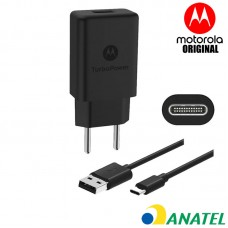 Carregador de Parede Motorola Original Turbo Power 18W com Cabo USB Tipo C - Preto