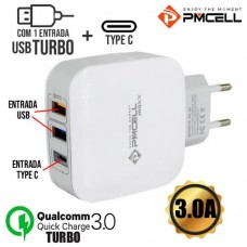 Carregador de Tomada 1 USB Turbo Quick Charge 3.0A 1 USB 2.4A + Type C PMCELL HC-44