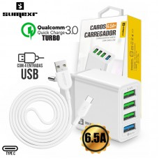 Kit Carregador Universal de Tomada Turbo Quick Charge 3.0 + 3 USB 6.5A e Type C 1m Sumexr SX-F8-CMAX - Branco