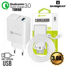 Kit Carregador Universal de Tomada Turbo 1 USB Quick Charge 3.0A + Cabo Type C 1m Sumexr SX-QC1-C - Branco