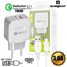 Kit Carregador Universal de Tomada Turbo 1 USB Quick Charge 3.0 + Cabo Type C 1m Sumexr SX-QC3-C - Branco