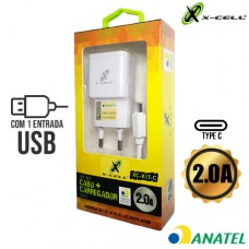 Kit Carregador Universal de Tomada 1 USB 2.0A + Cabo Type C 1m X-Cell XC-KIT-C