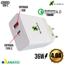 Carregador de Tomada Universal Turbo Quick Charge 4.0 USB + Entrada PD Type C 4.0A 36W X-Cell XC-UR26