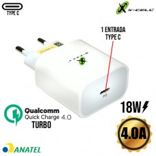 Carregador de Tomada Universal Turbo Entrada PD Type C 4.0A 18W Quick Charge 4.0 X-Cell XC-UR27