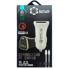 Carregador Veicular USB Lotus 3.4A + Cabo iPhone 5/6/7 e Cabo V8