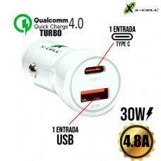 Carregador Veicular 1 USB + 1 Type C 30W 4.8A Turbo Quick Charge 4.0 X-Cell XC-V13USB - Branco