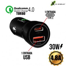 Carregador Veicular 1 USB + 1 Type C 30W 4.8A Turbo Quick Charge 4.0 X-Cell XC-V13USB - Preto