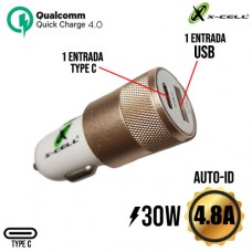 Carregador Veicular 1 USB + 1 PD Type C 4.8A 30W Auto-ID Turbo Quick Charge 4.0 X-Cell XC-V14USB - Branco Dourado
