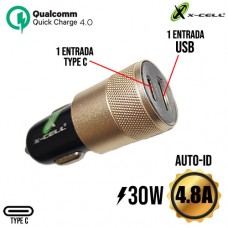 Carregador Veicular 1 USB + 1 PD Type C 4.8A 30W Auto-ID Turbo Quick Charge 4.0 X-Cell XC-V14USB - Preto Dourado