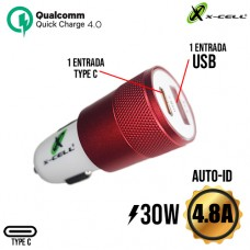 Carregador Veicular 1 USB + 1 PD Type C 4.8A 30W Auto-ID Turbo Quick Charge 4.0 X-Cell XC-V14USB - Vermelho