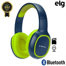 Headphone Estéreo Bluetooth/SD/P2 Power Bass com Microfone Elg EPB-MS1NB - Azul Verde