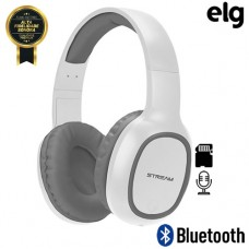 Headphone Estéreo Bluetooth/SD/P2 Power Bass com Microfone Elg EPB-MS1SL - Branco Cinza