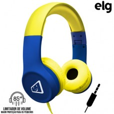Headphone P2 Estéreo Dobrável com Limitador de Volume Safe Kids Elg Joy - Amarelo Azul