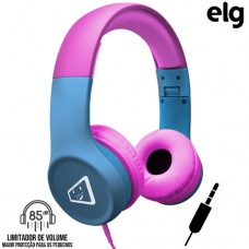 Headphone P2 Estéreo Dobrável com Limitador de Volume Safe Kids Elg Melody - Azul Rosa