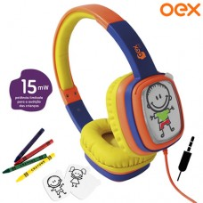 Headphone P2 Cartoon Kids Personalizável + Giz de Cera e Cards OEX HP302 - Laranja Amarelo