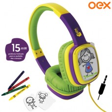 Headphone P2 Cartoon Kids Personalizável + Giz de Cera e Cards OEX HP302 - Verde Roxo