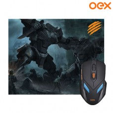 Combo Gamer War Mouse USB 6 Botões 2400Dpi LED + Mouse Pad 29x23x0,3cm OEX MC100