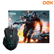 Combo Gamer Stage Mouse USB 6 Botões 2400Dpi LED + Mouse Pad 29x23x0,3cm OEX MC101