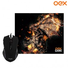 Combo Gamer Arena Mouse USB 6 Botões 2400Dpi LED + Mouse Pad 29x23x0,3cm OEX MC102