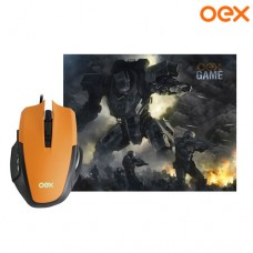 Combo Gamer Clash Mouse USB 6 Botões 3200Dpi LED + Mouse Pad 29x23x0,3cm OEX MC103