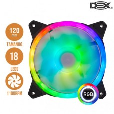Cooler Gamer Processador Fan Dupla Face com 18 LEDs RGB 12x12cm DEX DX-12V