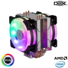 Cooler Gamer Processador Fan Dupla com LED RGB e Dissipador Intel/AMD Dex DX-9107D
