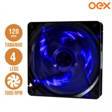 Cooler Fan para PC 12x12cm com 4 Leds 1000 RPM OEX F10 - Azul