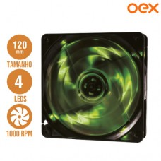 Cooler Fan para PC 12x12cm com 4 Leds 1000 RPM OEX F10 - Verde
