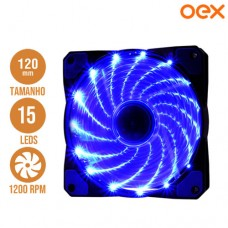 Cooler Fan para PC 12x12cm com 15 Leds 1200 RPM OEX F20 - Azul